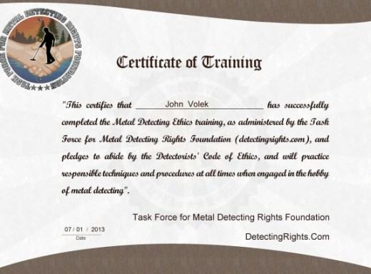 certificate Volek
