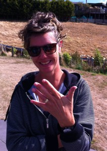 Andrea's ring safely on her finger