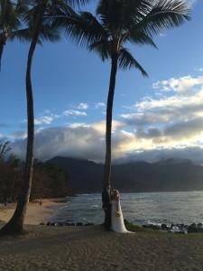 Matt and Keila on their wedding day in Kauai.