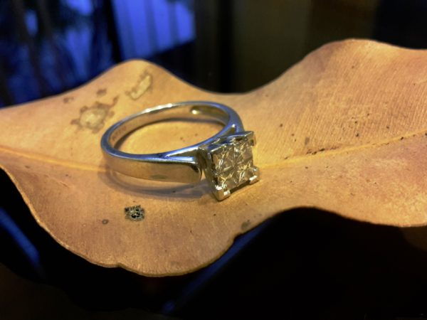 White gold and diamond engagement ring lost and found
