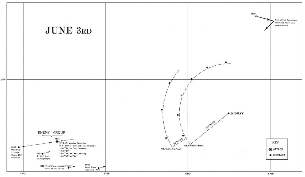 medium resolution of chart of sightings 3 june 1943 u s navy
