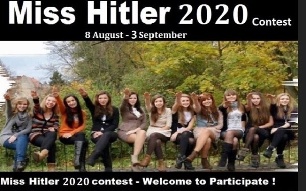 An advertisement for the 'Miss Hitler 2020' competition.