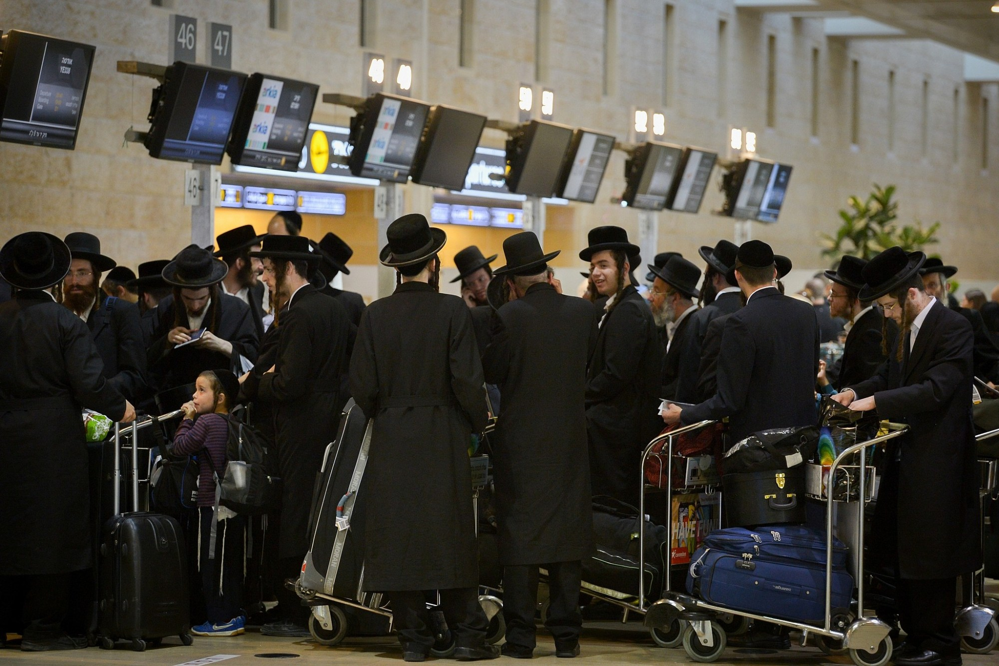hight resolution of ultra orthodox jewish men traveling to uman in the ukraine for rosh hashanah seen