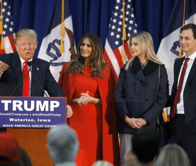 Republican Presidential Candidate Donald Trump Accompanied By From Second From Left Wife Melania