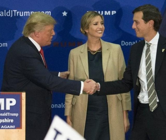 Donald Trump Left Shakes Hands With Jared Kushner Husband Of His Daughter Ivanka