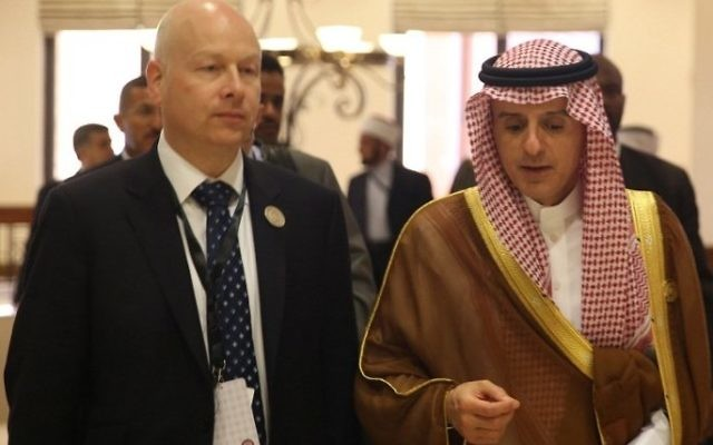 Saudi Arabia's Foreign Minister Adel al-Jubeir (R) speaks with Jason Greenblatt, the US president's assistant and special representative for international negotiations, during the Arab Summit in the Jordanian Dead Sea resort of Sweimeh on March 29, 2017. (AFP Photo/Khalil Mazraawi)