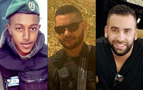 From left to right: Solomon Gavriyah, Youssef Ottman and Or Arish, three Israelis killed in a terror attack outside the settlement of Har Adar on September 26, 2017 (Courtesy)