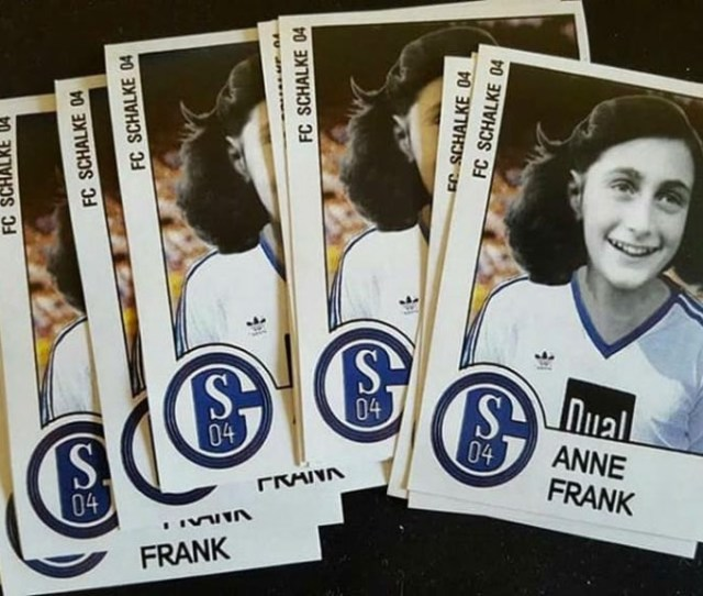 Stickers Showing A Doctored Photo Of Anne Frank Wearing A German Soccer Teams Jersey In Dusseldorf