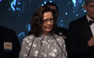 Incoming CIA director Gina Haspel delivers remarks at the 2017 William J. Donovan Award Dinner in Washington, DC, on October 24, 2017. (Screen capture: YouTube)