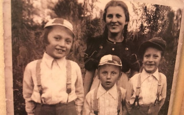 Margit Kirsche with her younger brothers, who were murdered in Auschwitz. (Courtesy of Kirsche/via JTA)