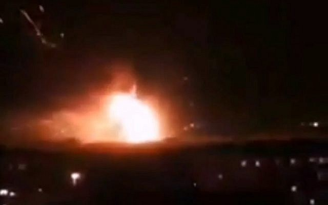 A missile attack reported at Mazzeh air base in Syria, September 2, 2018. (screen capture: Twitter)