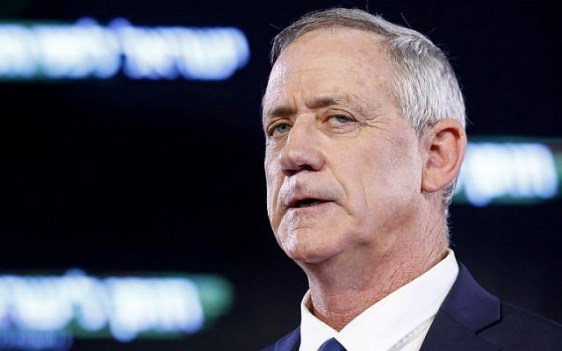 Former IDF chief of staff Benny Gantz delivers his first electoral speech in Tel Aviv on January 29, 2019. (Jack Guez/AFP)