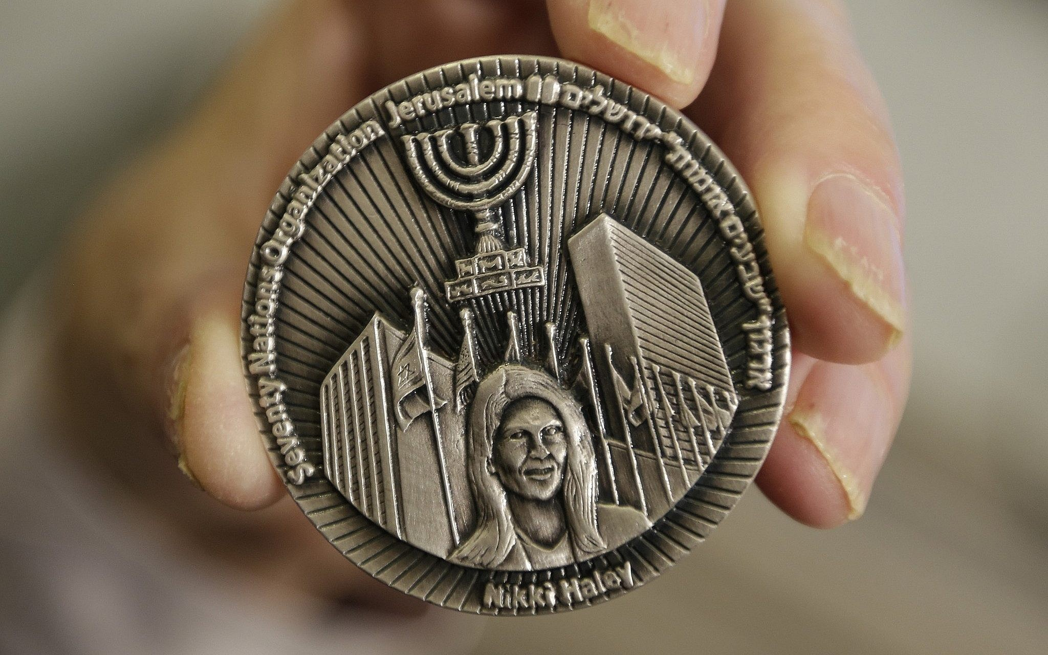 Right-wing Jewish group mints coin hailing Haley's support for Israel   The Times of Israel