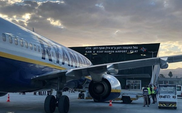 A Ryanair Boeing 737 airliner seen at Ramon Airport near Eilat, March 4, 2019. (Rafi Peled/ Israel Airport Authority)