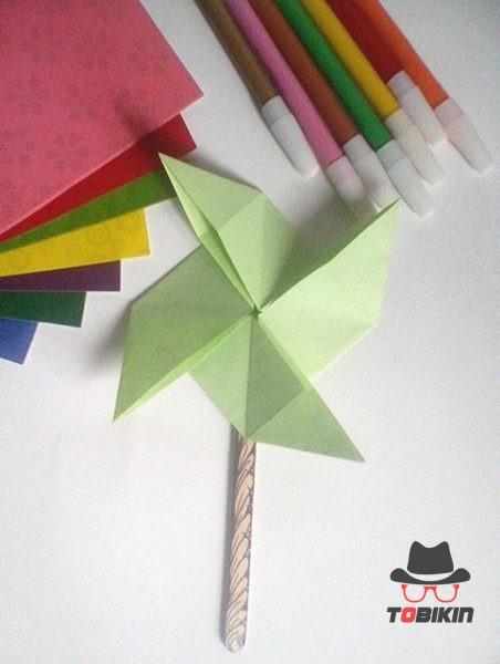 Cara Buat Kincir Angin Dari Kertas : kincir, angin, kertas, Tutorial, Origami, Kincir, Angin, Tobikin.com