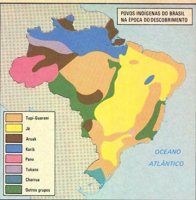 Mapa dos povos indígenas na época dos descobrimentos