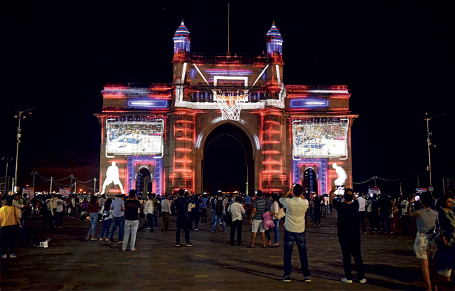 A light show was held at Gateway of India yesterday to kick off the 2019 NBA India Games between Sacramento Kings and Indiana Pacers to be held on October 4 and 5 at the NSCI Worli Dome