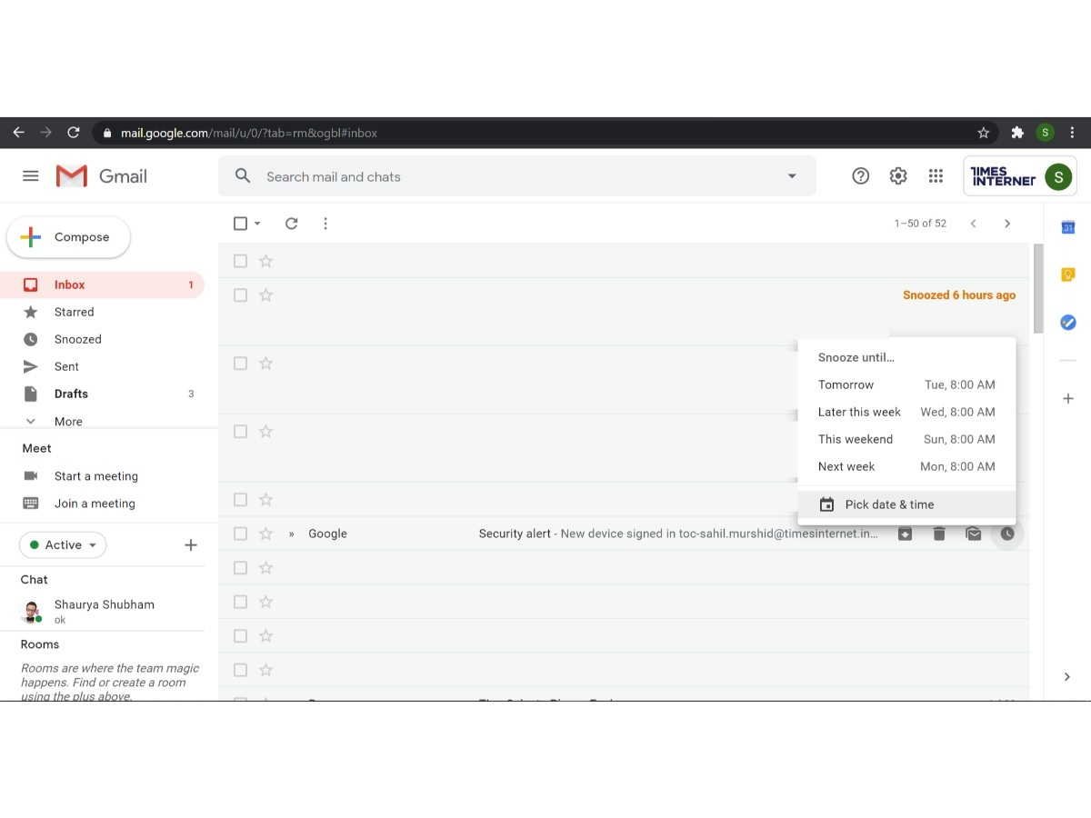 How to use the Snooze feature in Gmail
