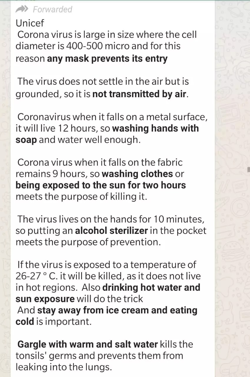 Alert! Do not believe these Coronavirus Whatsapp messages and ...