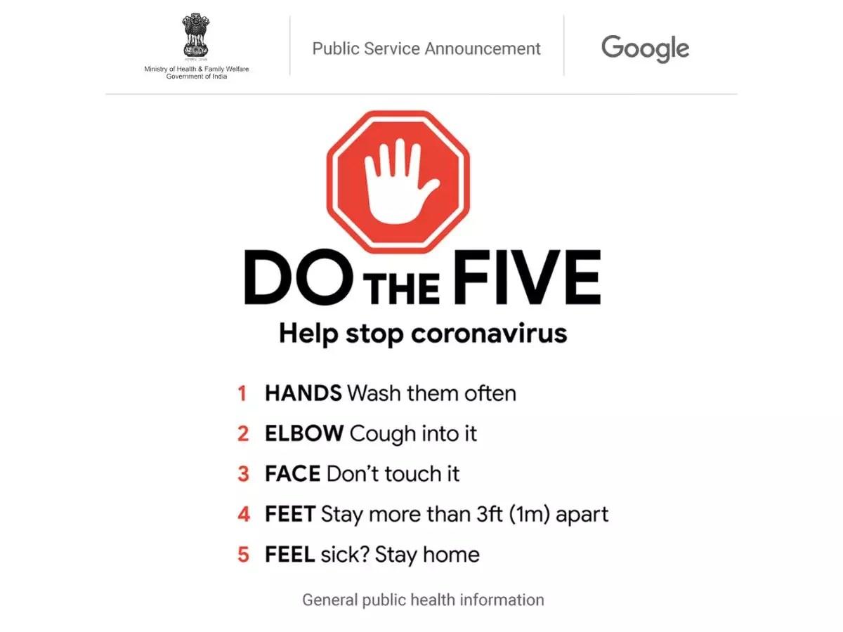 Google Tips for Coronavirus: Google homepage shows 'Do the