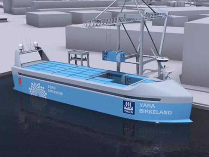 yara birkeland the world's first electric autonomous container shipThe 120 TEU Yara Birkeland