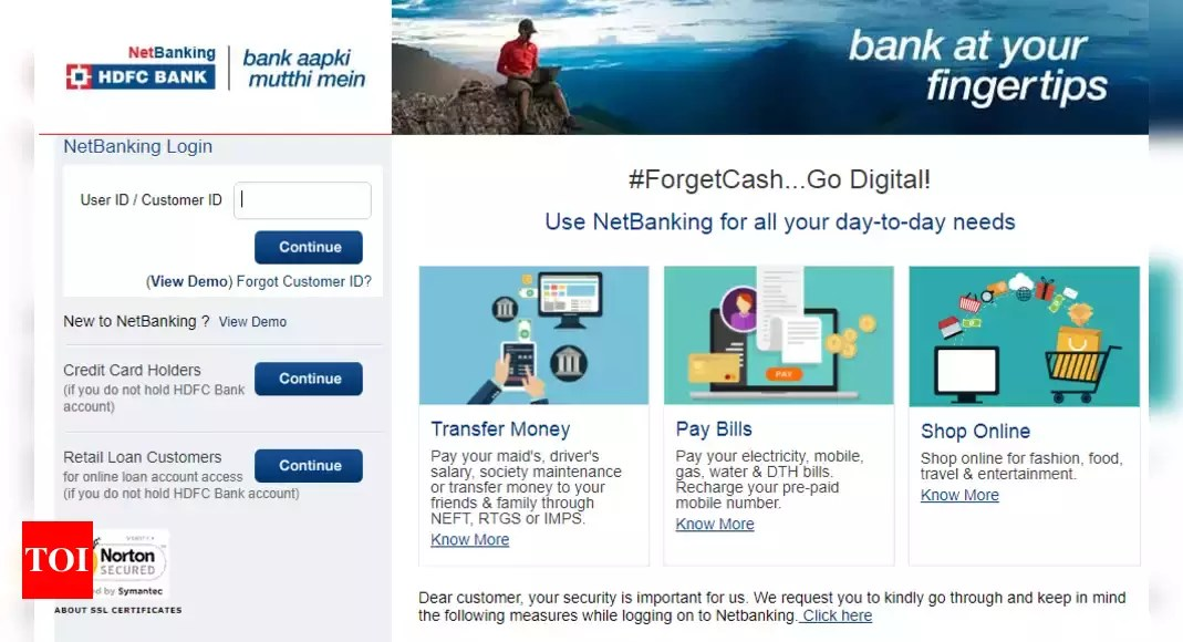 Hdfc Netbanking How To Activate Use Hdfc Bank Internet Banking Services Business News Times Of India