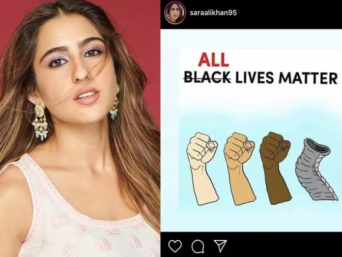 Sara Ali Khan's 'All Lives Matter' post leaves Twitterati divided; while  some call it 'tone-deaf' others 'see no wrong' | Hindi Movie News - Times  of India