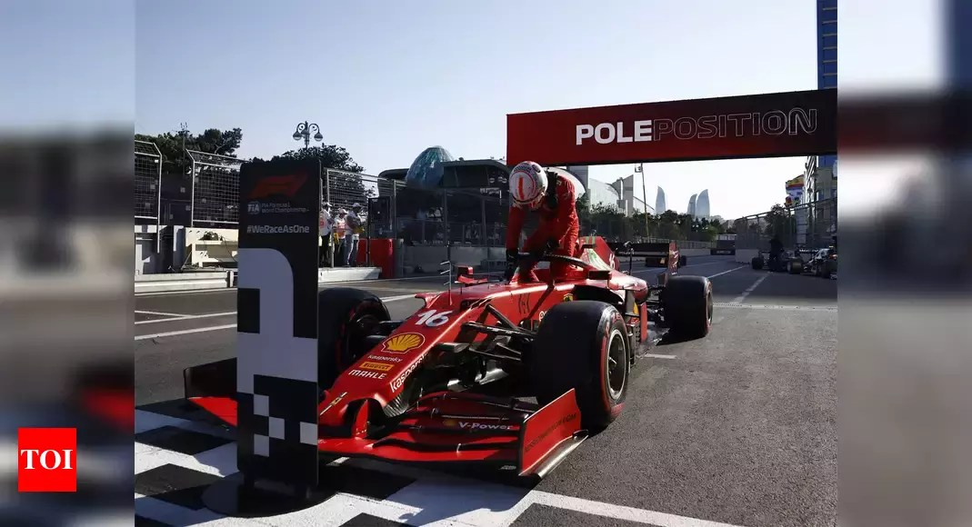 F1: Ferrari's Leclerc on pole in Baku after crash-hit qualifying   Racing News – Times of India