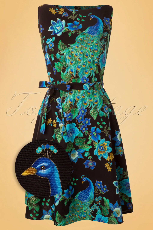 60s Monique Royal Peacock Dress Black