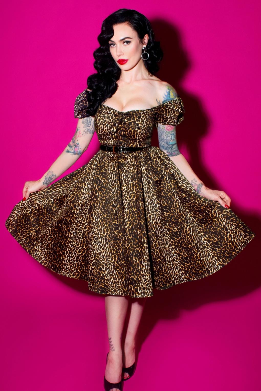 50s Vixen Swing Dress In Leopard