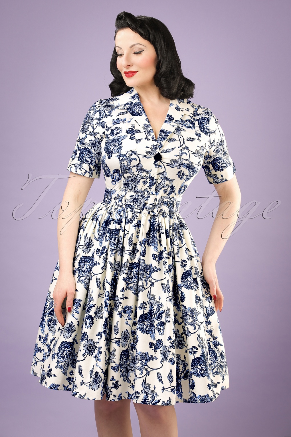 50s Janet Toile Floral Shirt Dress in White and Blue