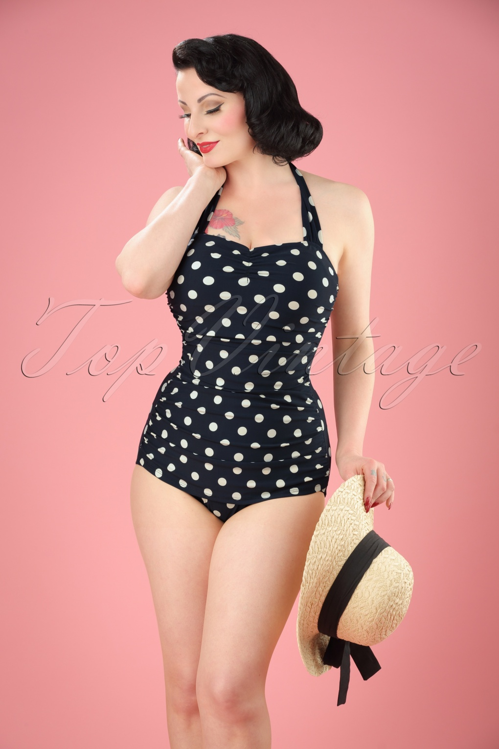 classic fifties one piece swimsuit polka Black White