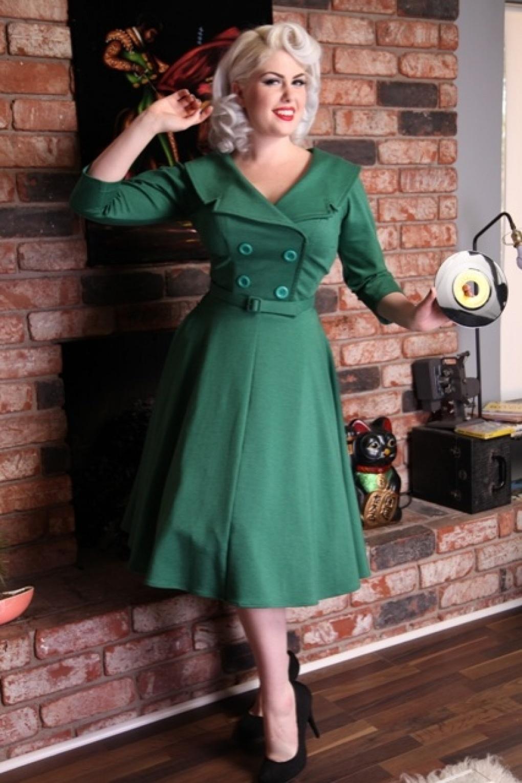 Secretary 50s circle dress green