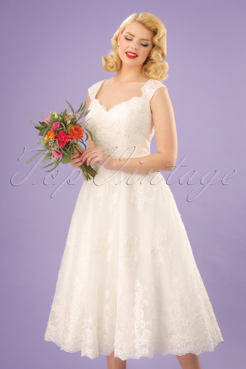 c7c37496 50s Madeline Vintage Lace Bridal Gown In Ivory White - Inspirational ...