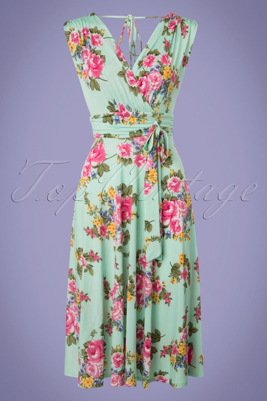 50s Jane Floral Midi Dress in Mint Green