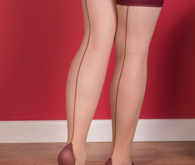 What Katie Did Seamed Stockings Champagne Wine  Modelb