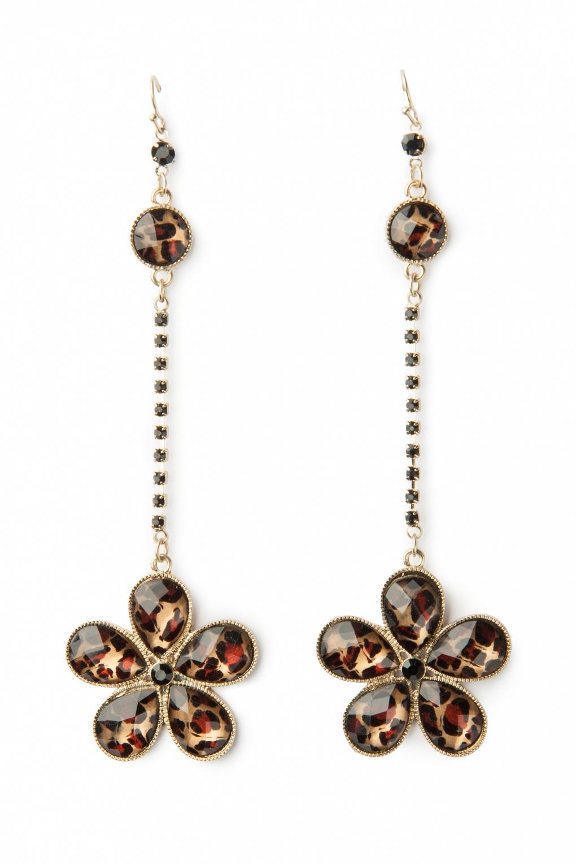 Long Leopard flower earrings gold