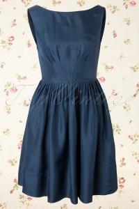 Abigail A-line Dress in Navy Silk