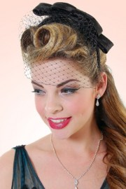 20s veil bow headband in black