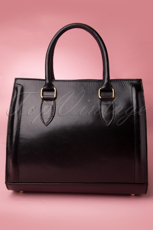 60s Classy Black Leather Handbag