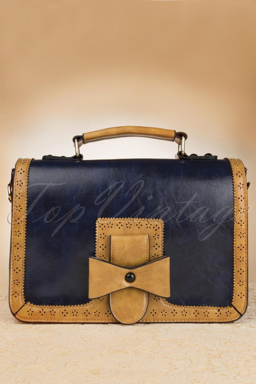 50s Antique Messenger Bag in Blue