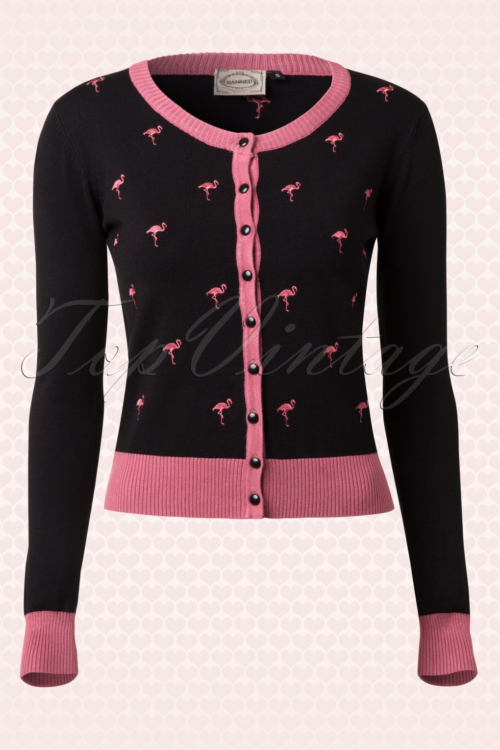 60s Golden Touch Flamingo Cardigan in Black and Pink
