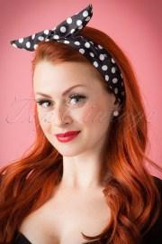 50s pin- hair scarf black polkadot