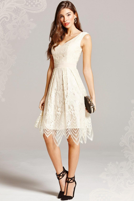 50s Vera Lace Prom Dress in Cream
