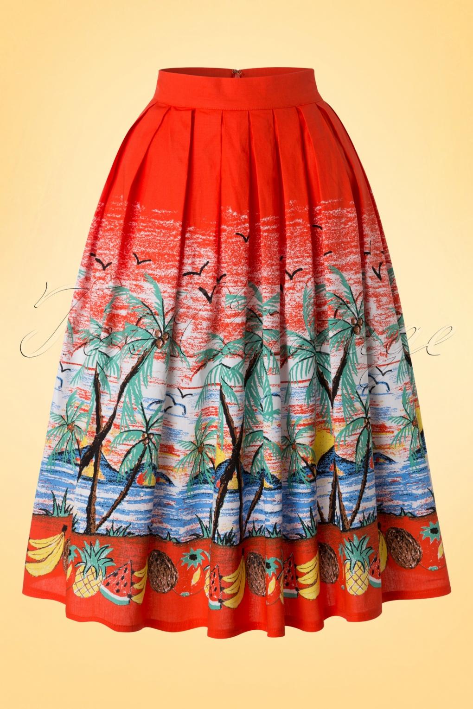 50s Gloria Copacabana Swing Skirt in Tangerine