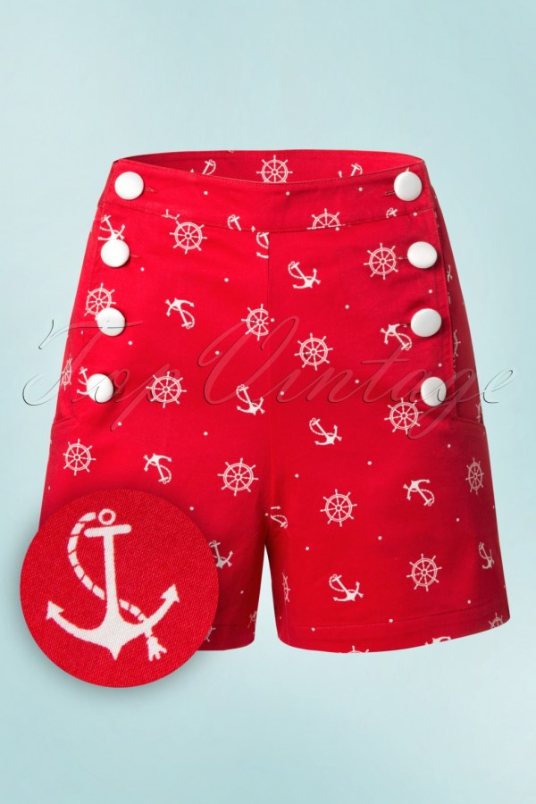 50s Sue Sailor Shorts In Red