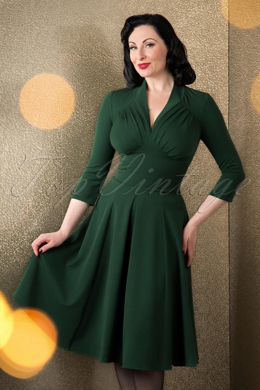 50s Vedette Swing Dress in Forest Green
