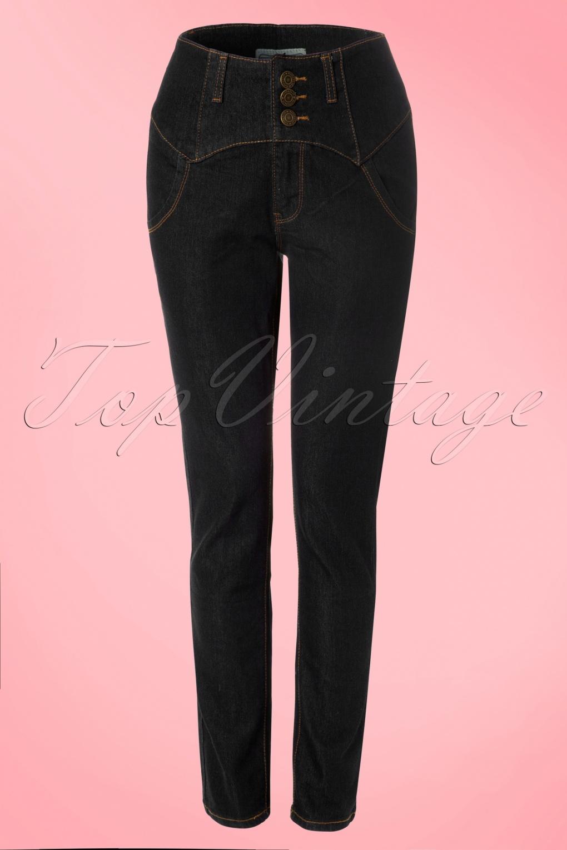 50s Rebel Kate High Waist Denim Pants in Black