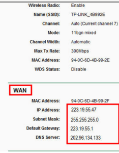 If it shows any ip address similar as below that means the connection between router and modem is established there no wan also how do  install tp link to work with  cable rh
