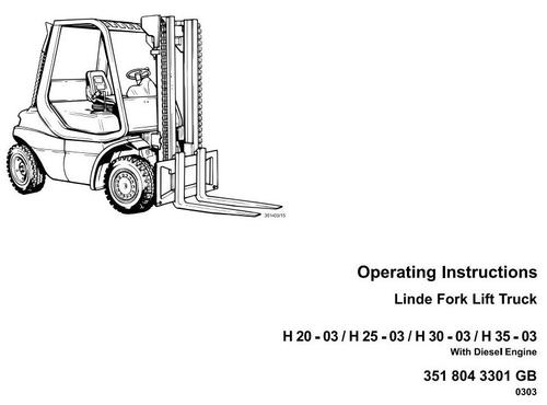 Linde Diesel Forklift Truck 351-03 Series: H20, H25, H30